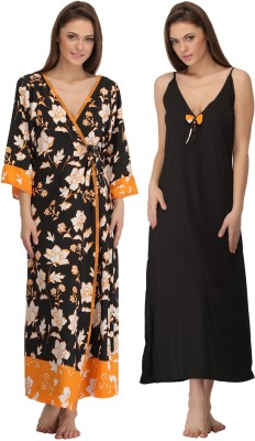 Clovia Women's Nighty with Robe(Yellow) at flipkart