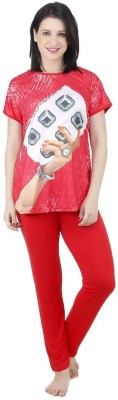 Icable Women's Printed Red Top & Pyjama Set at flipkart