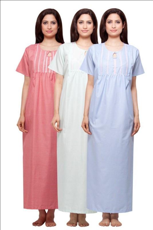 VedVid Women's Nighty(Red, Pink, White)