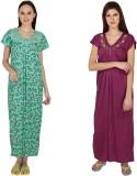 Simrit Women's Nighty (Green, Purple)