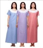 VedVid Women's Nighty (Dark Blue, Red, P...
