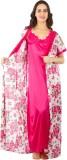 Go Glam Women's Nighty with Robe (Pink)