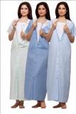 VedVid Women's Nighty (White, Dark Blue,...