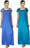 Krazy Katz Women's Nighty (Blue, Light G...