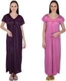 Simrit Women's Nighty (Purple, Pink)