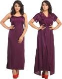 Rowena Women's Nighty with Robe (Purple)
