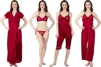 Bombshell Women's Nighty with Robe(Maroon) at flipkart