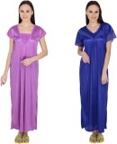 Simrit Women's Nighty (Purple, Blue)