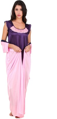 Masha Women's Nighty with Robe(Pink, Purple) at flipkart