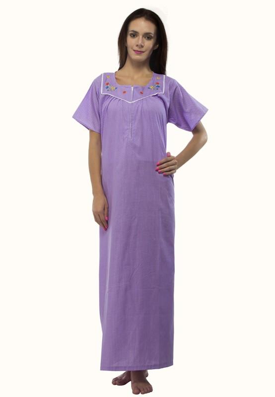 VedVid Women's Nighty(Purple)
