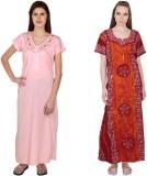Simrit Women's Nighty (Pink, Yellow)