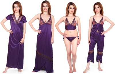 Fabme Women's Nighty with Robe, Top and Capri