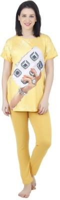 Icable Women's Printed Yellow Top & Pyjama Set at flipkart
