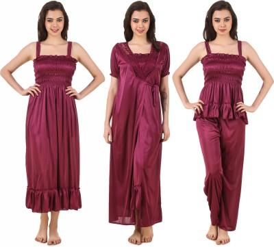 Masha Women's Nighty with Robe, Top and Capri