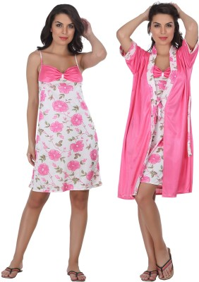 Belle Nuits Women's Nighty with Robe, Top and Capri(Pink)