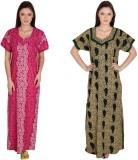 Simrit Women's Nighty (Pink, Green)