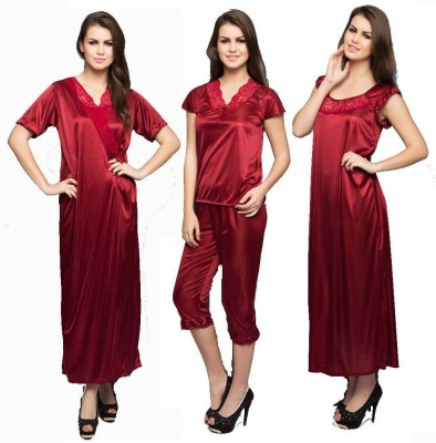 Variation Women's Nighty with Robe, Top and Capri