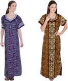 Simrit Women's Nighty (Blue, Brown)