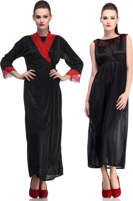 Belle Nuits Women's Nighty with Robe, Top and Capri(Black)