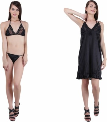 Crazeis Women's Nighty(Black) at flipkart