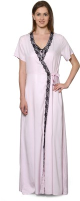Patrorna Women's Nighty with Robe(Pink) at flipkart