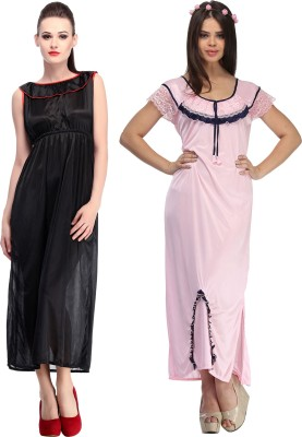 Belle Nuits Women's Nighty with Robe, Top and Capri(Multicolor)