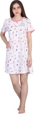 Cinderella Women's Nighty(White, Pink)