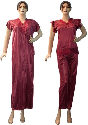 Yumlookup Women's Nighty with Robe, Top and Capri