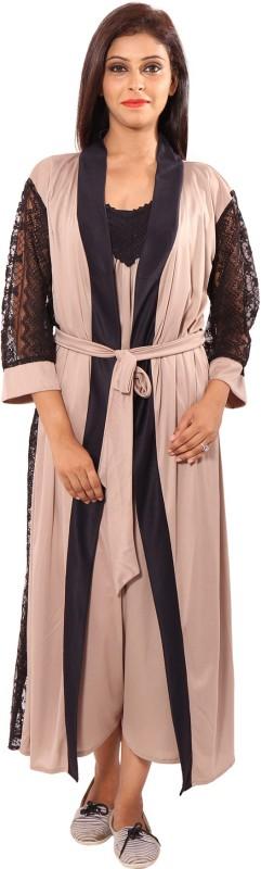 9teen Again Women's Nighty with Robe(Brown)