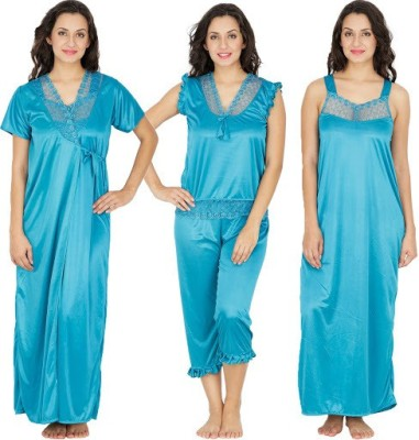 Klamotten Women's Nighty with Robe, Top and Capri