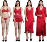 Rowena Women's Nighty with Robe (Red)