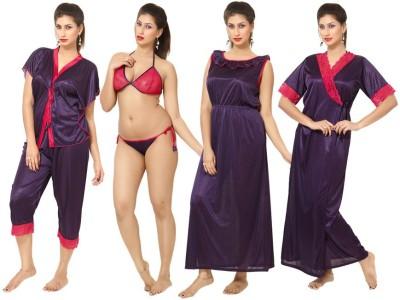Rowena Women's Nighty with Robe, Top and Capri
