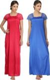Krazy Katz Women's Nighty (Pink, Blue)