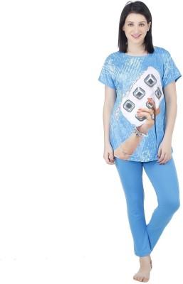 Icable Women's Printed Blue Top & Pyjama Set at flipkart