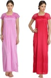 Krazy Katz Women's Nighty (Pink, Pink)