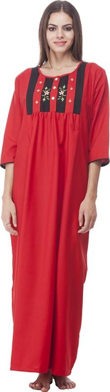VedVid Women's Nighty(Red)