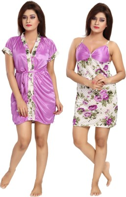 Rangmor Women's Nighty with Robe(Multicolor) at flipkart