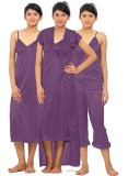 Fabme Women's Nighty with Robe, Top and ...