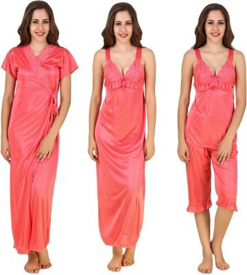 CrazyLiner Women's Nighty with Robe, Top and Capri