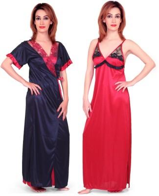 Fabme Women's Nighty with Robe