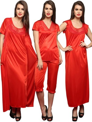 Miss Clyra Women's Nighty with Robe, Top and Capri