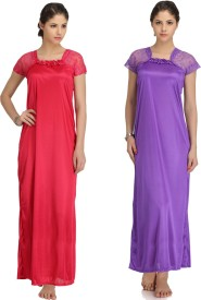 Krazy Katz Women's Nighty(Pink, Purple)