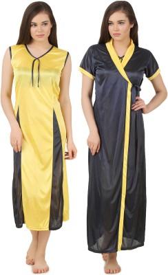 Fasense Women's Nighty with Robe(Dark Blue, Yellow) at flipkart