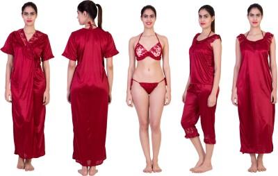 Adonia Women's Nighty with Robe, Top and Capri