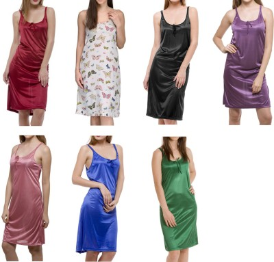 Meow Women's Nighty(Maroon, Multicolor, Black, Purple, Pink, Blue, Green) at flipkart