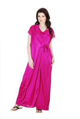 Belle Nuits Women's Nighty with Robe, Top and Capri(Maroon)