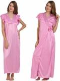 Miavii Women's Nighty with Robe (Pink)