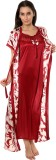 Go Glam Women's Nighty with Robe (Red)