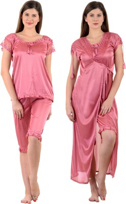 Mynte Women's Nighty with Robe, Top and Capri