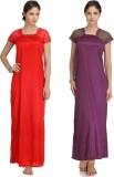 Krazy Katz Women's Nighty (Red, Purple)